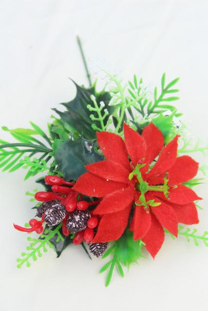 vintage Christmas flowers / greenery, lot plastic floral picks holiday decorations