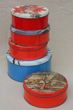 vintage Christmas gift tins, candy & cookies tin lot in red & holiday colors