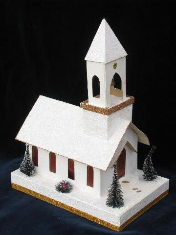 Vintage Christmas Lighted Cardboard Paper Church Music