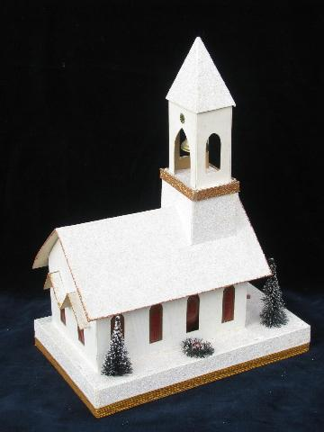 vintage Christmas, lighted cardboard paper church music box light, for putz village