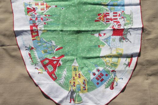 vintage Christmas linens, lot holiday print cotton tablecloths ...