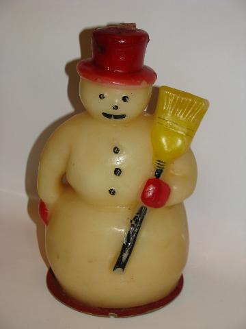 vintage Christmas novelty figural candle, big snowman