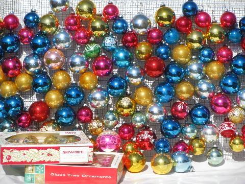 Vintage Christmas Ornaments Mercury Glass Balls Shiny Brite