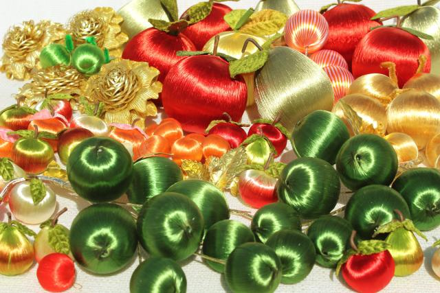 vintage Christmas ornaments, tree decorations - satin peppermint striped  balls, apples & pears - Vintage Christmas Ornaments, Tree Decorations - Satin Peppermint