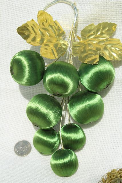 vintage Christmas ornaments, tree decorations - satin peppermint striped balls, apples & pears