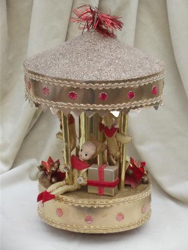 Vintage Christmas Pixies Carousel Music Box Jingle Bells