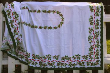 vintage Christmas print cotton tablecloth banquet table size holiday table cover