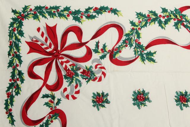 vintage Christmas print cotton tablecloth candy canes red ribbons & green holly