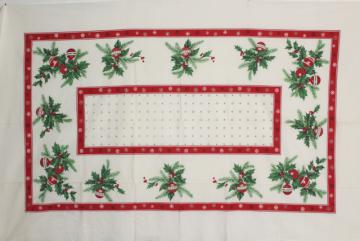 vintage Christmas print cotton tablecloth red & green holly, ornaments, greenery