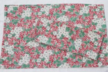 vintage Christmas print feed sack fabric, printed cotton feedsack pillowcases pair