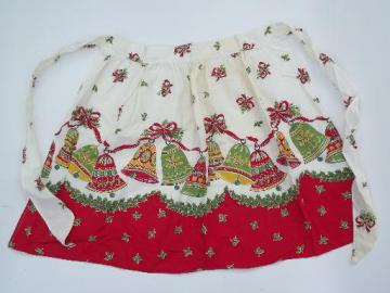 vintage Christmas printed cotton apron, holly bells border print fabric