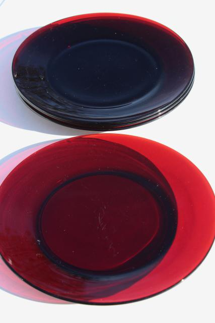 & vintage Christmas red glass dinner plates Royal Ruby or Arcoroc