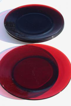 vintage Christmas red glass dinner plates, Royal Ruby or Arcoroc