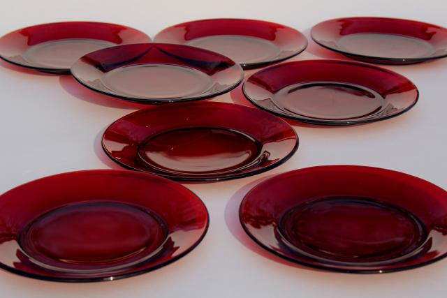 vintage Christmas red glass salad / dessert plates, Royal Ruby or Arcoroc