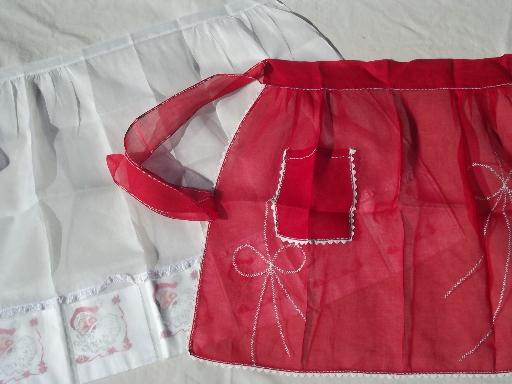 vintage Christmas red & white sheer aprons, holiday party hostess aprons