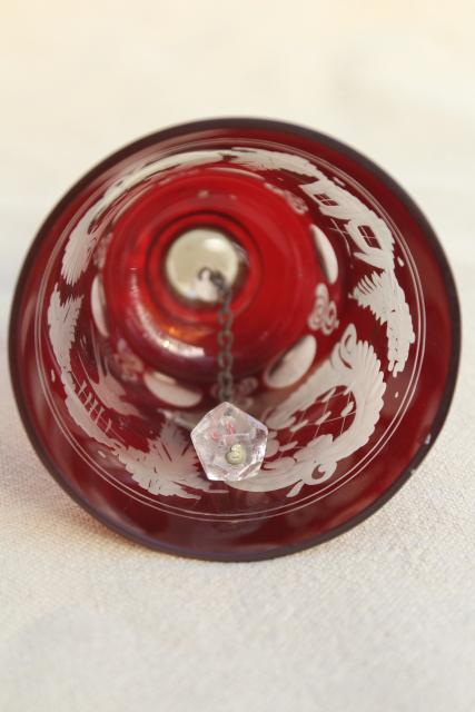 vintage Christmas table bell, Bohemian crystal ruby cut to clear glass