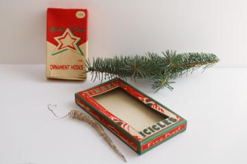 vintage Christmas tinsel metal icicles & Brite Star tree ornament hooks boxes