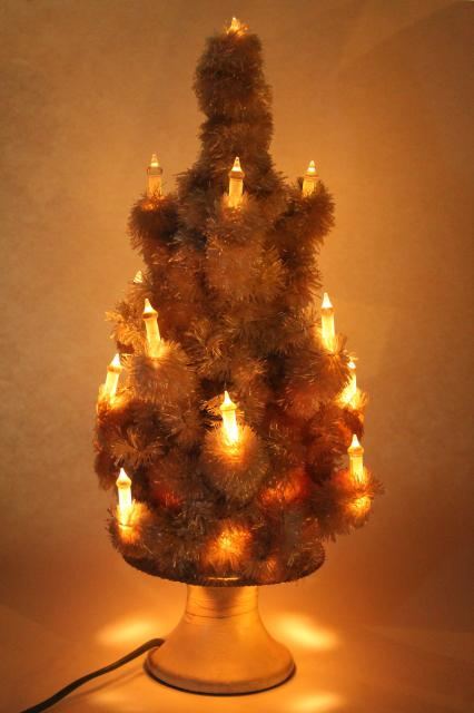 Vintage Christmas Tree Tabletop White Chenille Feather Tree Early Electric  Glass Candles