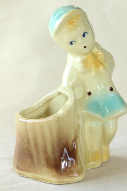 vintage Christopher Robin little boy pottery planter flower pot vase