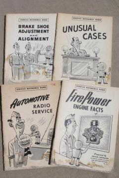 vintage Chrysler service reference books, Lot of 4 early 1950s  auto mechanics illustrated guides