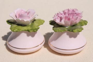 vintage Coalport bone china salt and pepper shakers, shell pink china flowers S&P