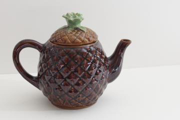 vintage Cobbs - Florida pottery pineapple shape teapot painted ceramic
