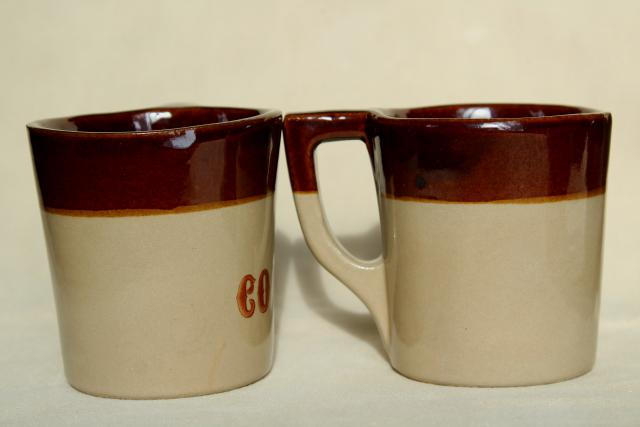 Vintage coffee mugs heavy brown band stoneware western for Heavy ceramic coffee mugs