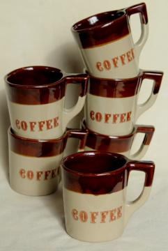 vintage Coffee mugs, heavy brown band stoneware Western Monmouth pottery