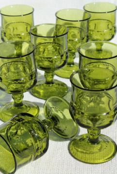 vintage Colony King's Crown pattern glass wine glasses, avocado green glass goblets