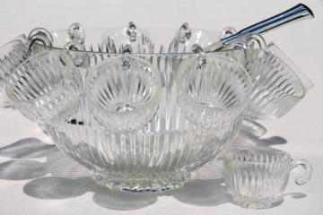 vintage Colony Starlight prismatic ribbed glass punch bowl set w/ hooked handle cups & ladle