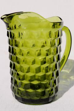 vintage Colony glass Whitehall pattern avocado green glass pitcher