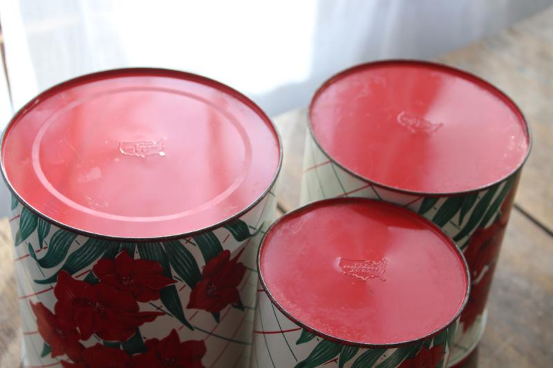 vintage Colorware kitchen canisters tins set w/ Christmas amaryllis red & green