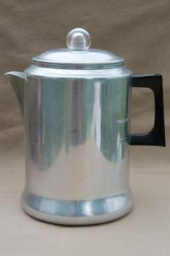 vintage Comet aluminum coffee pot, stovetop percolator 12 cup coffeepot