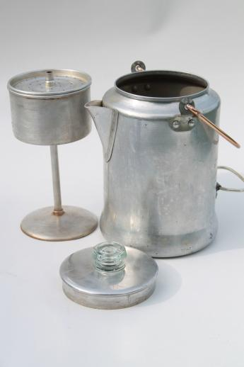 Camping Coffee Maker Percolator : vintage Comet aluminum percolator coffee pot w/ wire bail handle, perfect for camping