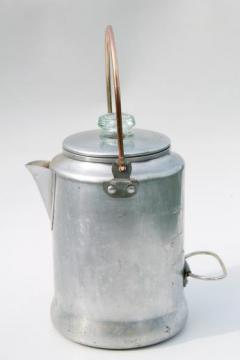 vintage Comet aluminum percolator coffee pot w/ wire bail handle, perfect for camping