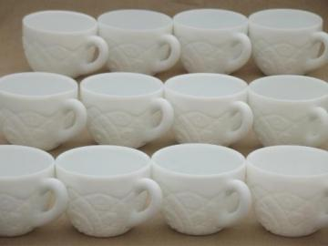 vintage Concord milk glass punch  cups set of 12, McKee pressed glass