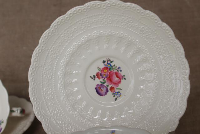 vintage Copeland Spode Jewel china tea cups & saucers, Claudia pattern