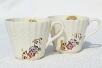 vintage Copeland Spode Wicker Lane basket weave embossed china demitasse, tiny coffee cups