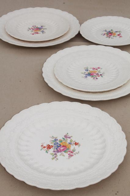 vintage Copeland Spode china plates Ann Hathaway floral embossed Spodeu0027s Jewel creamware & vintage Copeland Spode china plates Ann Hathaway floral embossed ...