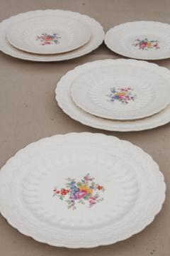 vintage Copeland Spode china plates, Ann Hathaway floral, embossed Spode's Jewel creamware