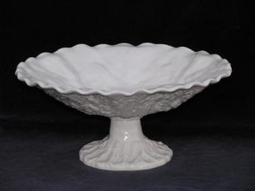 vintage Copeland Spode china white majolica leaf comport pedestal bowl