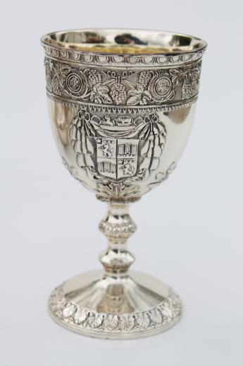 Vintage Corbell Silver Plate Goblet Wine Gles W Ornate Crest Coat Of Arms
