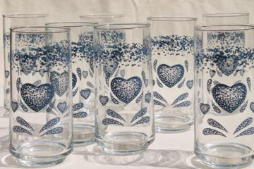 vintage Corelle blue heart go-along glassware, mint in box glass tumblers w/ sponged hearts