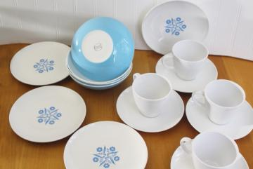 vintage Corning Ware Centura blue cornflower dishes, cups & saucers, bowls, plates