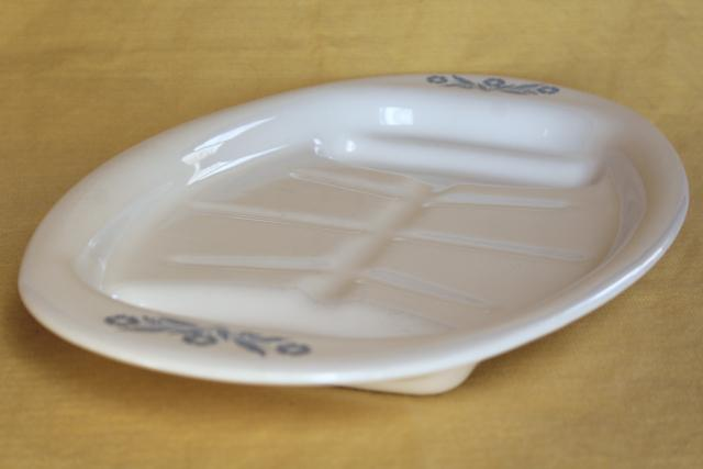 vintage Corning ware blue cornflower roast platter tray w/ drippings well