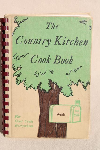 vintage Country Kitchen Cook Book w/ easel stand, depression era recipes 1940s edition
