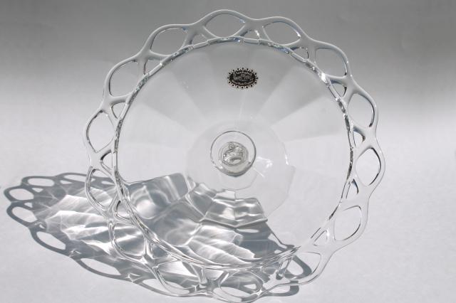 vintage Crocheted Crystal pattern glasscake stand w/ Sears Harmony House label