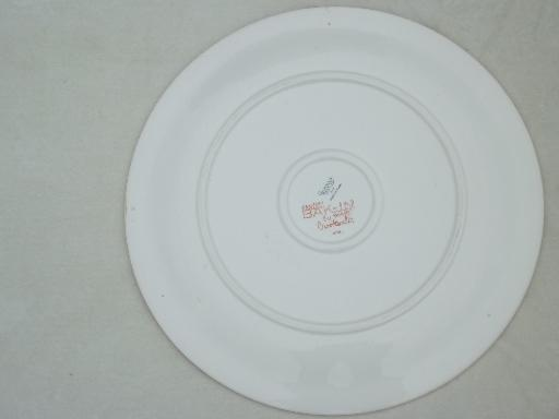 vintage Crooksville china petit-point cottage print cake plate or platter