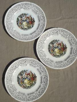 vintage Crooksville china plates, colonial couple w/ gold lace border