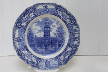vintage Crown Ducal Colonial Times blue & white china dinner plate Independence Hall
